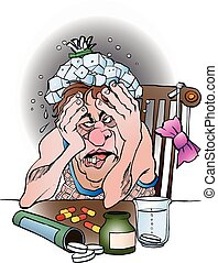 A man with hangover - Vector cartoon illustration of a man...