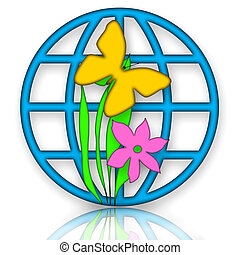 Environment - Blue globe symbol with yellow butterfly on the...