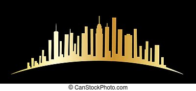 New York skyline - header or banner label or tag