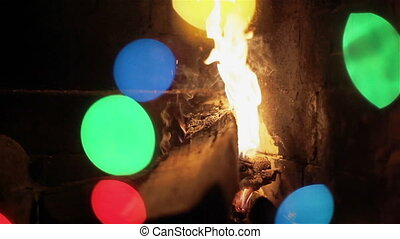 Fireplace with colorful party light