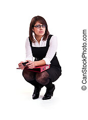 Photo set of the office woman in studio, isolated