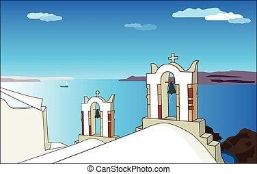 White church in Santorini Vector - The traditional...
