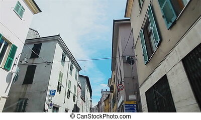 Driving narrow street in Italy - Driving narrow street...