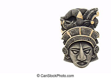 mayan mask 1 - mayan mask, isolated on white, copy space