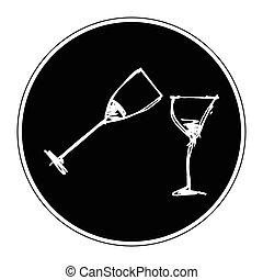 Set of cartoon style wine glass