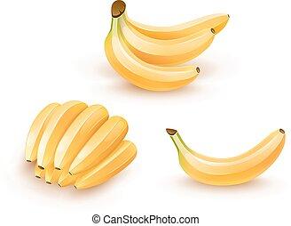Set of isolated banana fruits