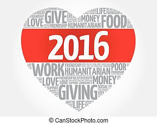 2016 Donate, Humanitarian word cloud, heart concept