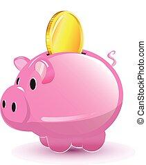 Pig Pocket Money Coin Cartoon