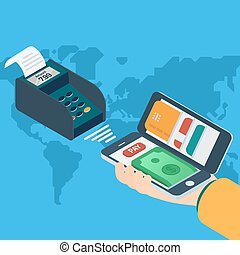 Mobile payment concept. - 3d isometric design vector...