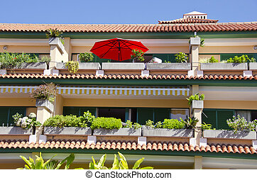 Sunlit terraced house with plants growing, Spain - Sunlit...