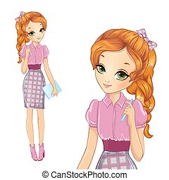 Girl In Pink Bisness Style Dress - Vector illustration of...