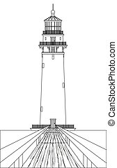 Lighthouse Outline - A lighthouse outline in clack and white...