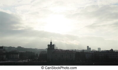 Break in clouds over the city - Eastern European...