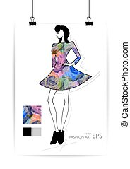 Fashion women in sketch style. Greeting card with abstract girl. Perfect for any other kind of design. Vector illustration, EPS10.