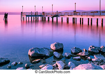 Surreal Pink Sunset - Surreal pink sunset long exposure,...