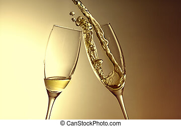 golden aniversary with champage - champagne splash, new...