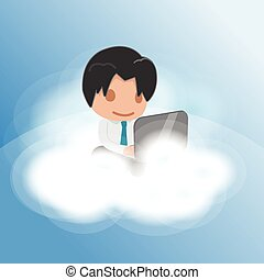 Man Work Cloud Funny Float Vector