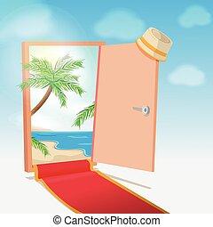 Opened Door Beach Background