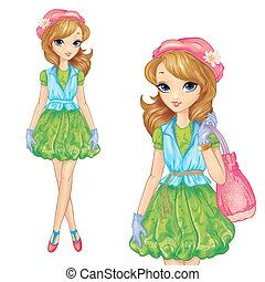 Girl In Green Dress And Pink Bag