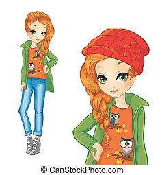 Girl In Green Jacket And Red Hat - Vector illustration of...