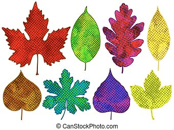 Set of colorful abstract leaves. Vector isolated, EPS10.