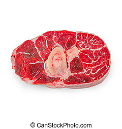 Fresh veal shank meat on white background, horizontal