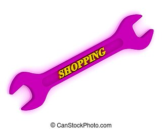 Shopping span - SHOPPING span. Inscription bright volume...