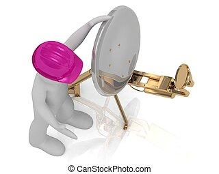 3d man in an lilac helmet adjusts the satellite dish -...