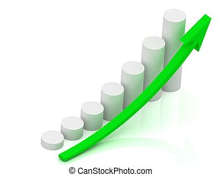 Business graph output growth of white pillars
