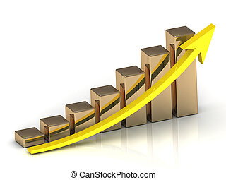 Business graph from golden columns and yellow arrow on white...