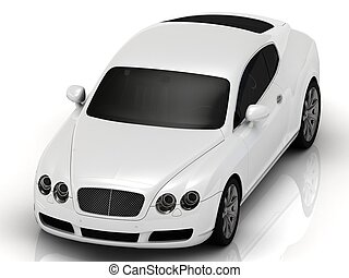 Lux white automobile on a white background