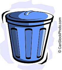 bucket - Illustration of blue bucket in colour