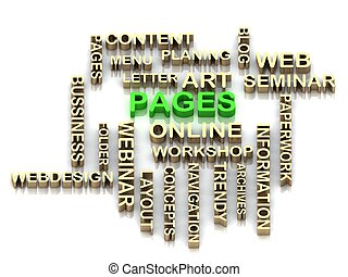 PAGES 3d cross word colour bright letter on white background