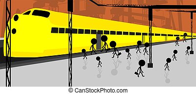 platform - Illustration of people standing near the platform...