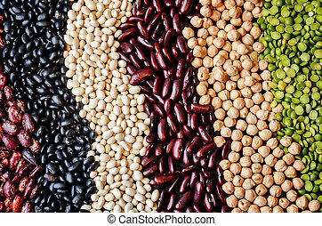 black white red beans chickpeas background. toning....