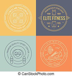 Vector fitness badge and emblems set in mono line style...