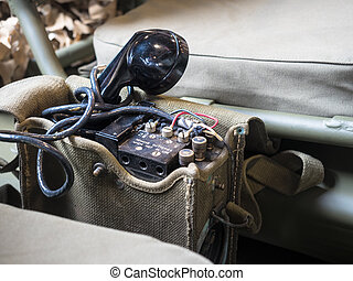 Radiophone portable equipped on US military jeep - Radio...
