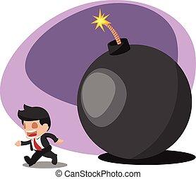Business Man Worker Run away Bomb