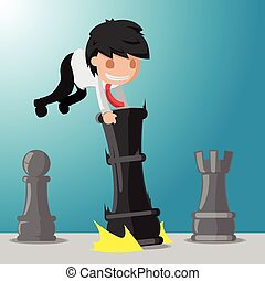 Business Man Worker Play Game Chess