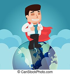 Business Man Worker Top World Vector