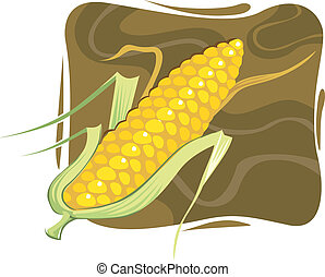 Maize - Illustration of maize with petals in brown...