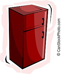 refrigerator - Illustration of red colour refrigerator