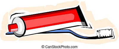 Toothpaste with brush - Illustration of Toothpaste with...