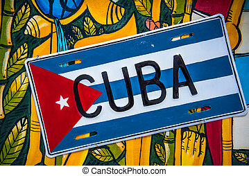Cuban flag on colorful vibrant background