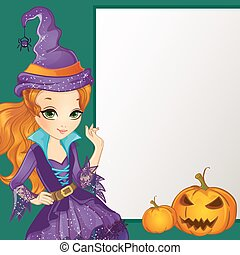 Redhair Witch Hold Banner - Halloween illustration Beautiful...