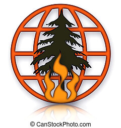 Forest Fires Global Disaster - Forest Fires Emblem with...