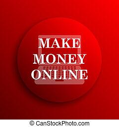 Make money online icon Internet button on white background...