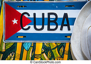 Cuban flag and straw hat