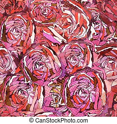 Seamless roses pattern. Vector, EPS10.