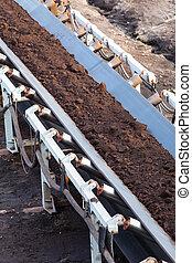 Opencast brown coal mine Belt conveyor - Open pit Opencast...
